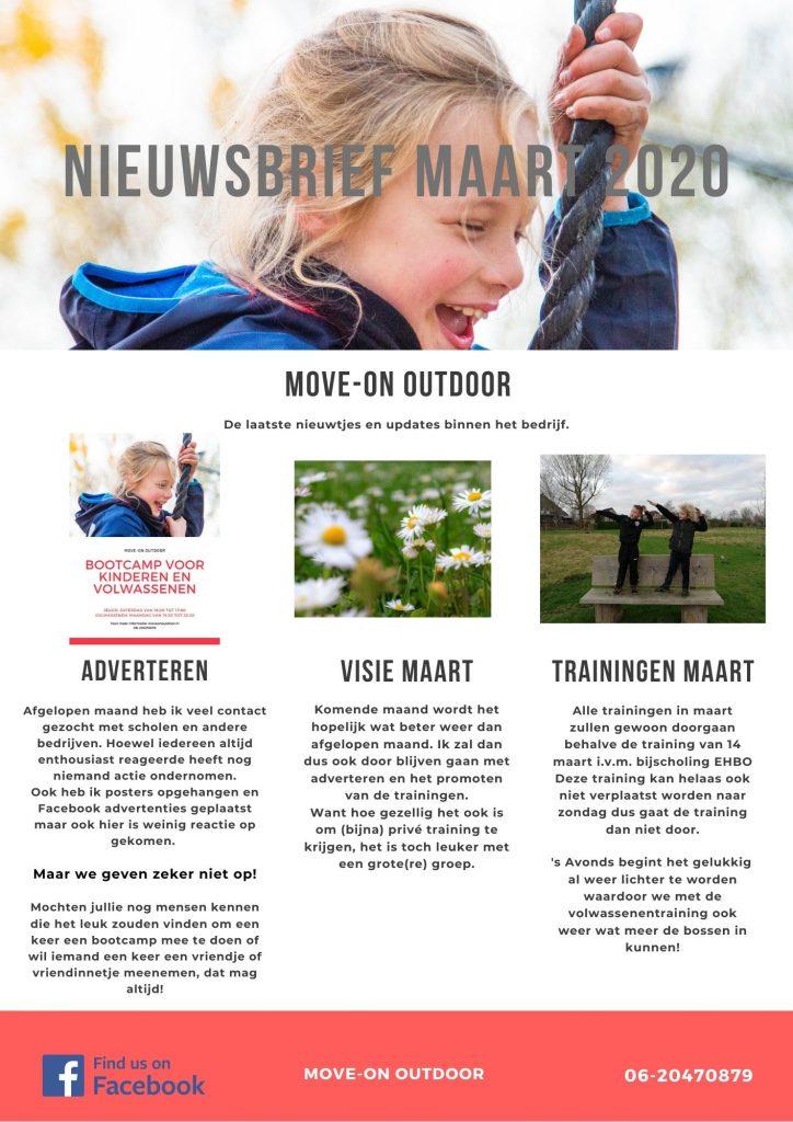 Nieuwsbrief maart 2020 van Move-on outdoor bootcamp en outdoor